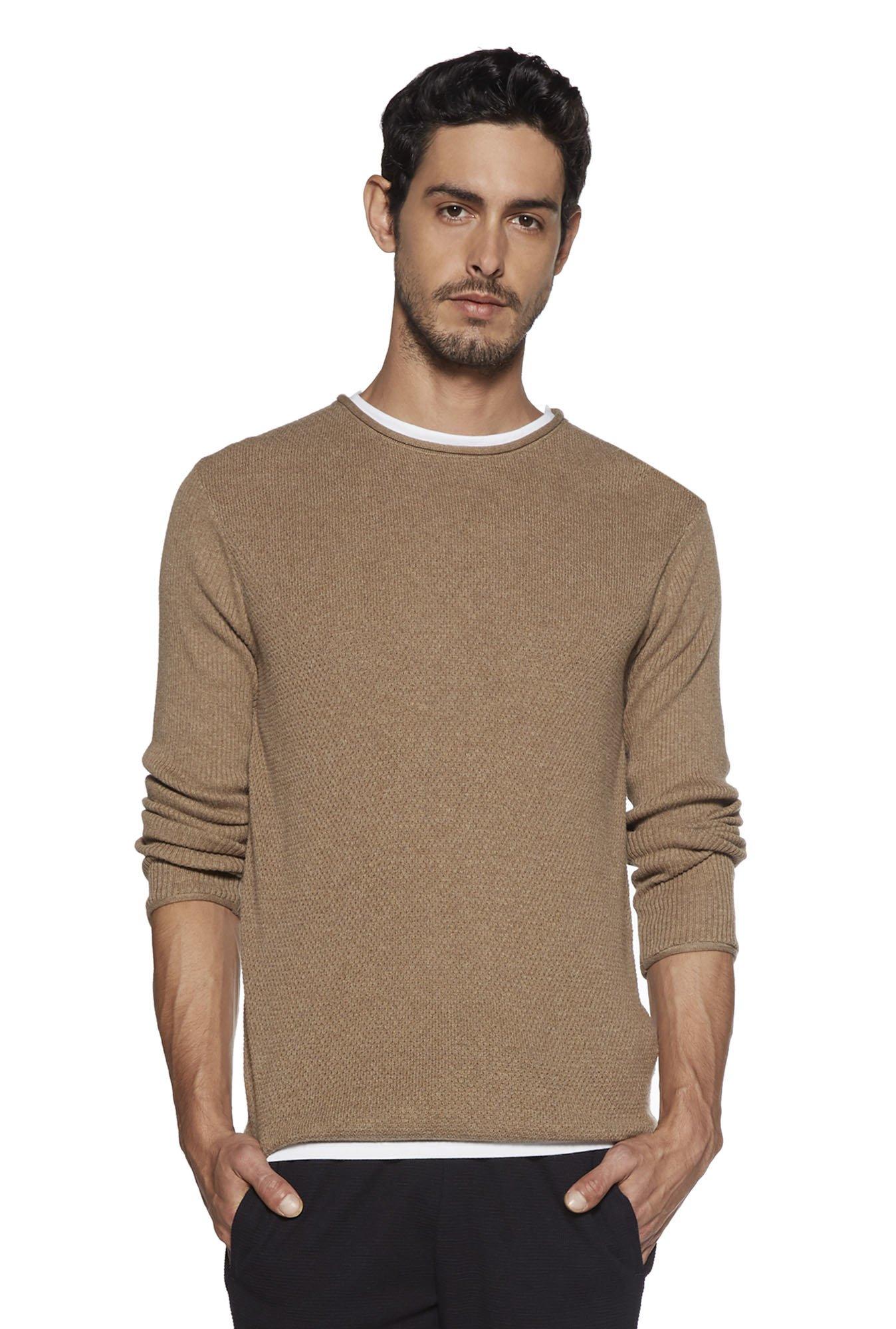 ETA by Westside Khaki Knitted Slim Fit T-Shirt
