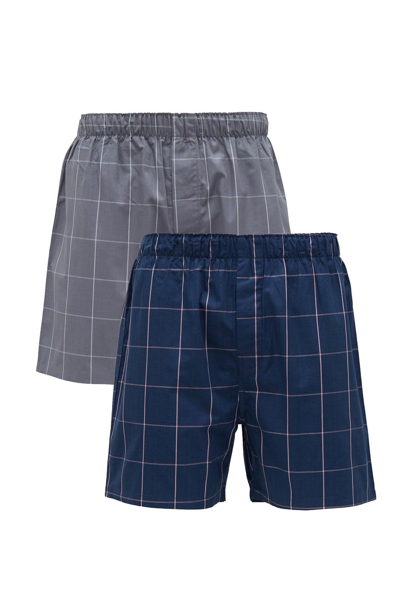XYXX Grey & Navy Checks Boxers (Pack Of 2)