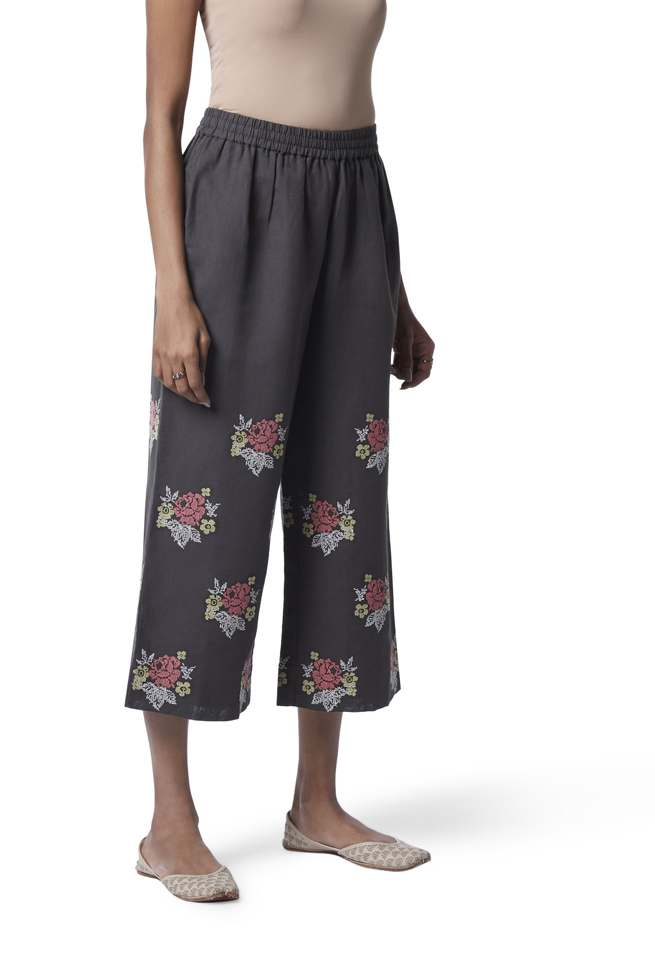 Zuba by Westside Charcoal Embroidered Cropped Palazzos
