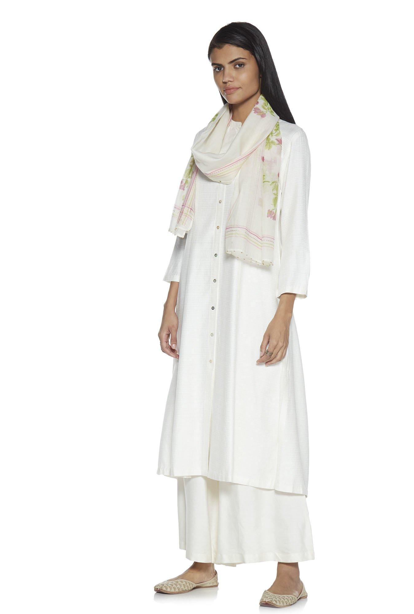 Zuba by Westside White Floral Print Cotton-Silk Stole