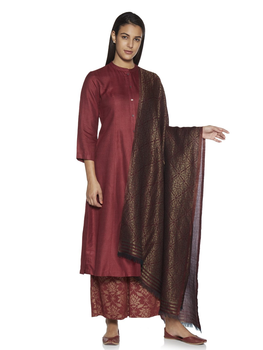 Zuba by Westside Maroon Ethnic Print Wool-Blend Shawl