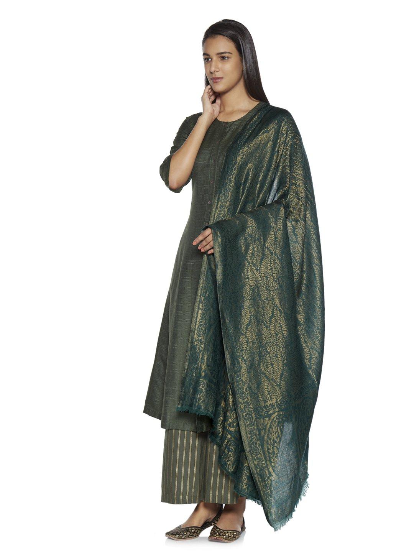 Zuba by Westside Green Printed Wool-Blend Shawl