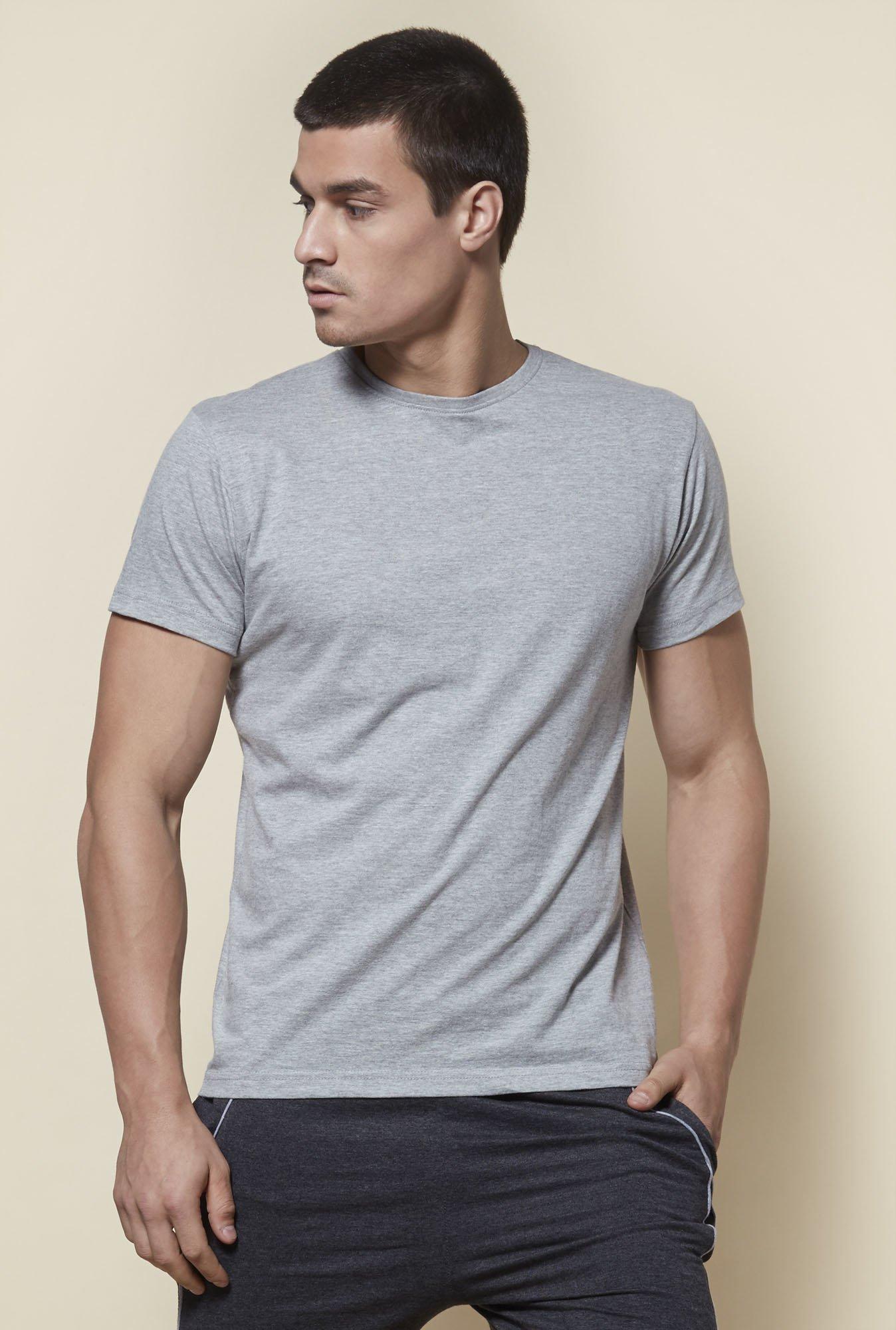 Zudio Grey Slim Fit T-Shirt