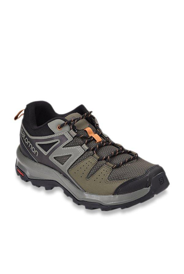 Salomon X Radiant Grey & Olive Hiking Shoes