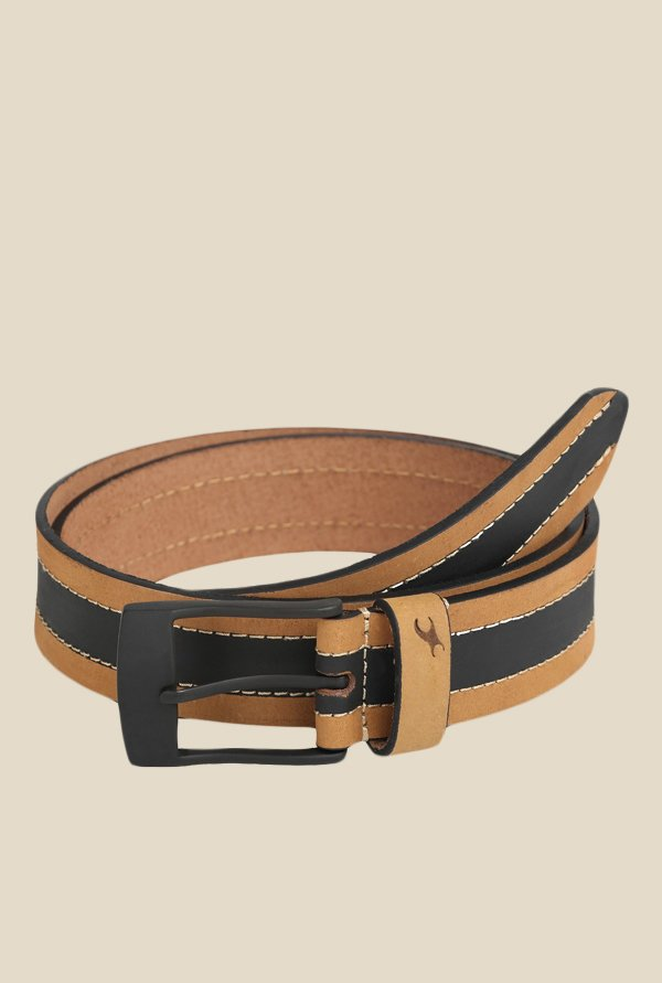 Fastrack Beige and Black Striped Leather Belt