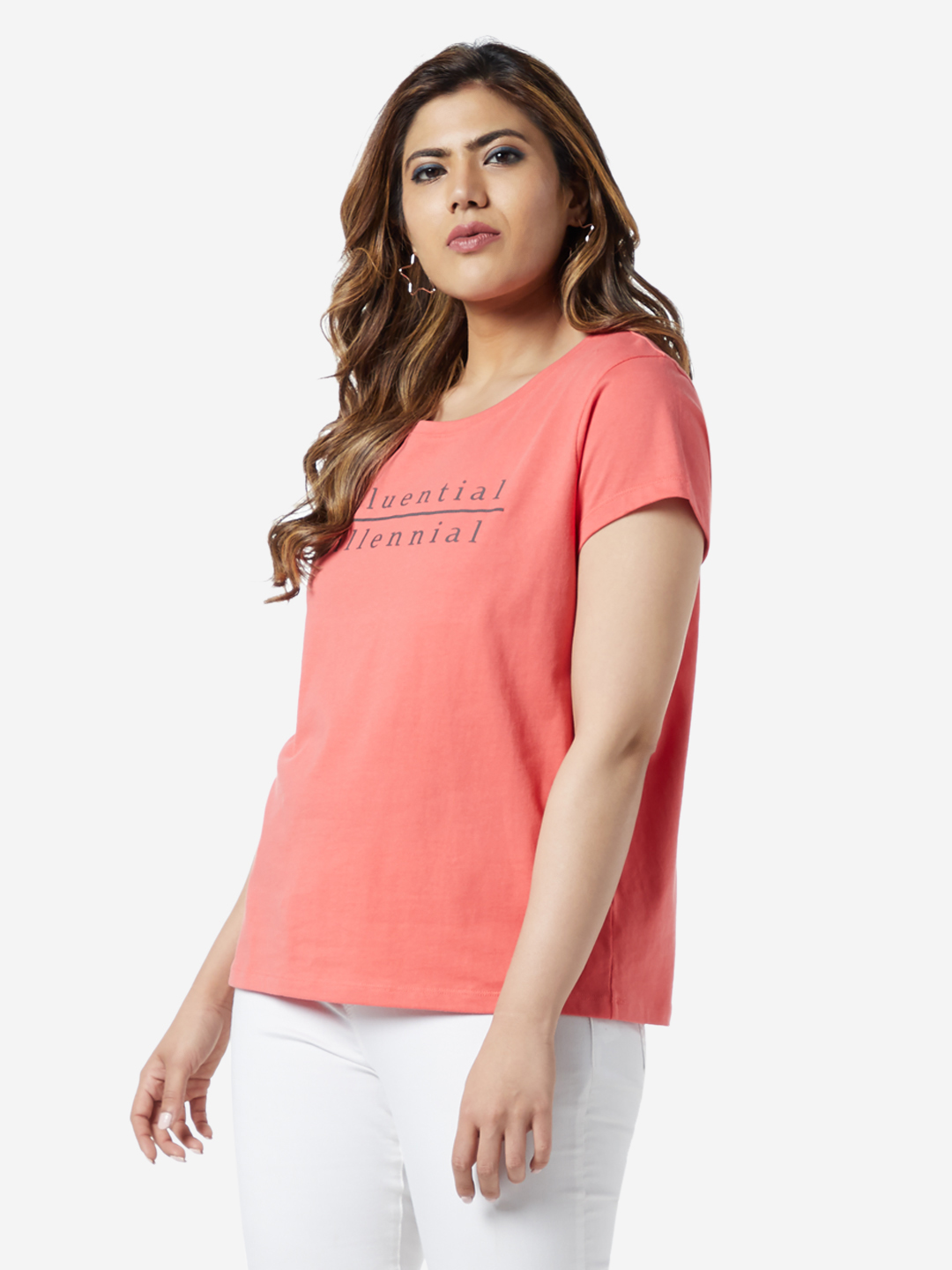 Sassy Soda Curve by Westside Coral Text Print Edna T-Shirt
