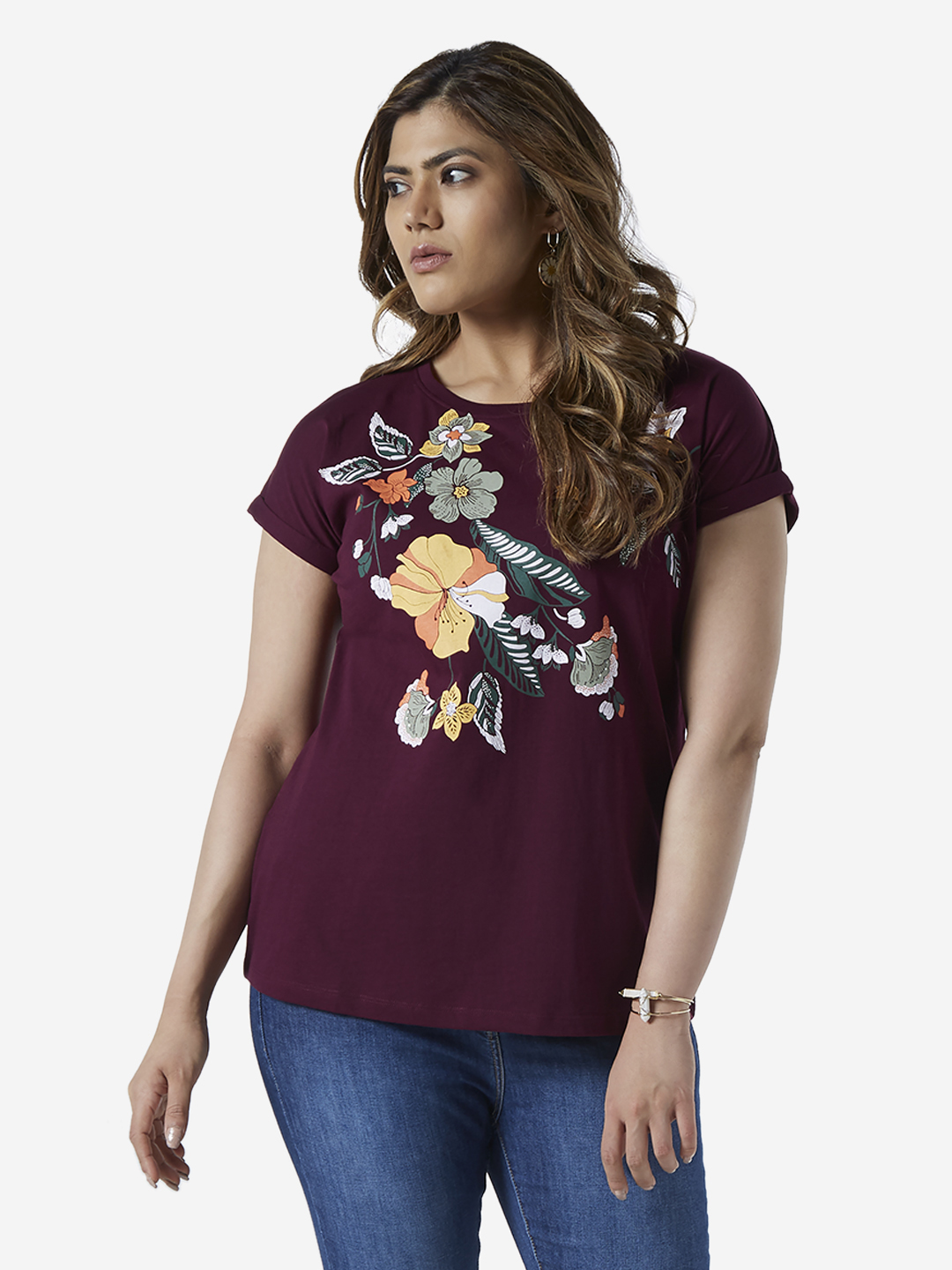 Gia Curve by Westside Berry Floral Bella T-Shirt