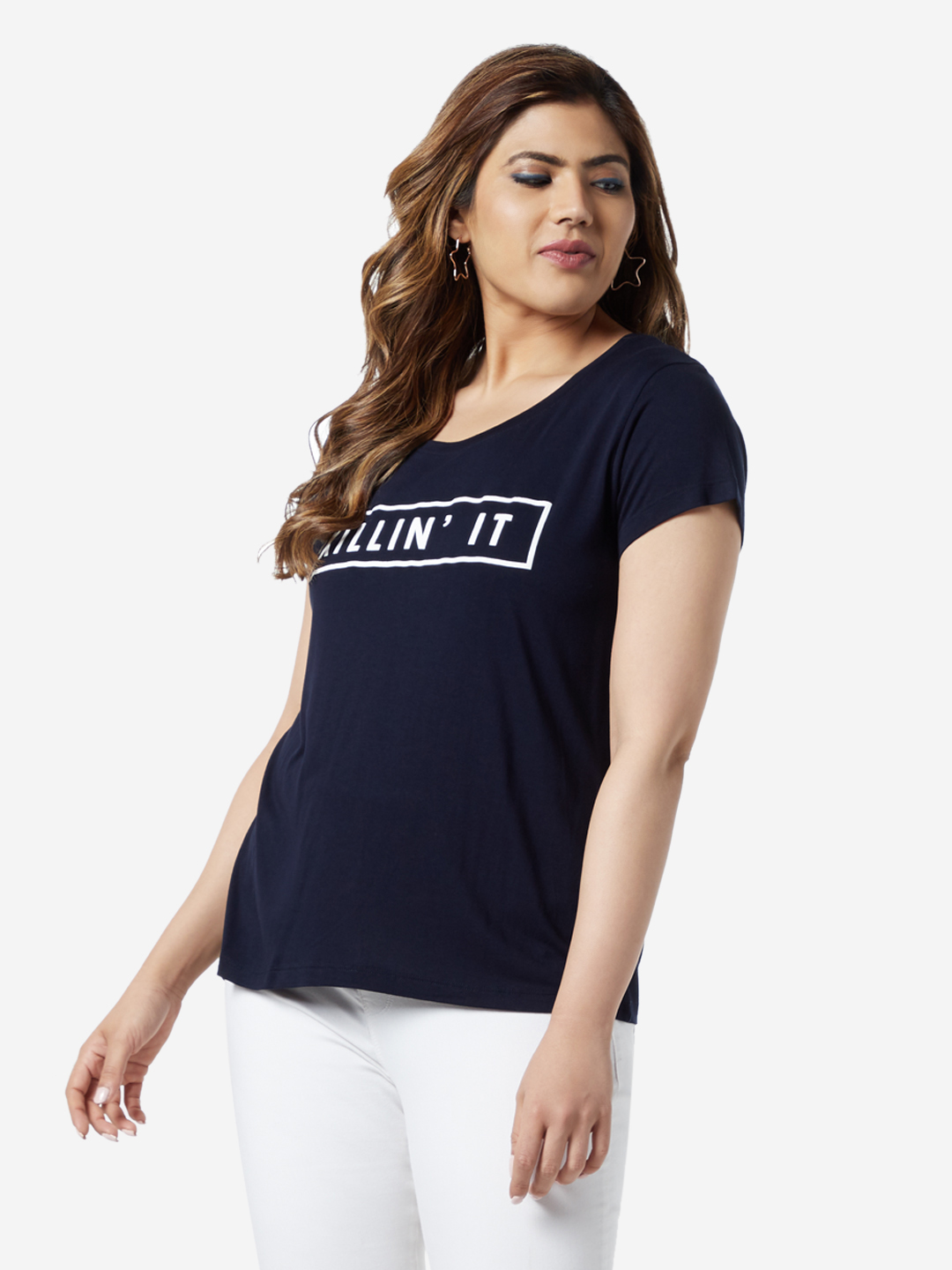 Sassy Soda Curve by Westside Navy Text Printed Edna T-Shirt