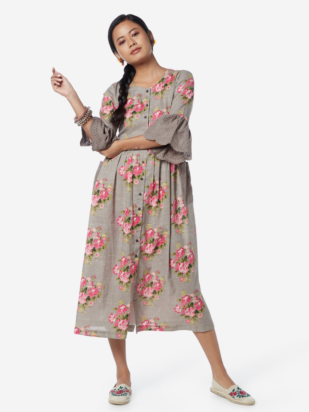 Bombay Paisley by Westside Taupe Floral Fit-And-Flare Dress