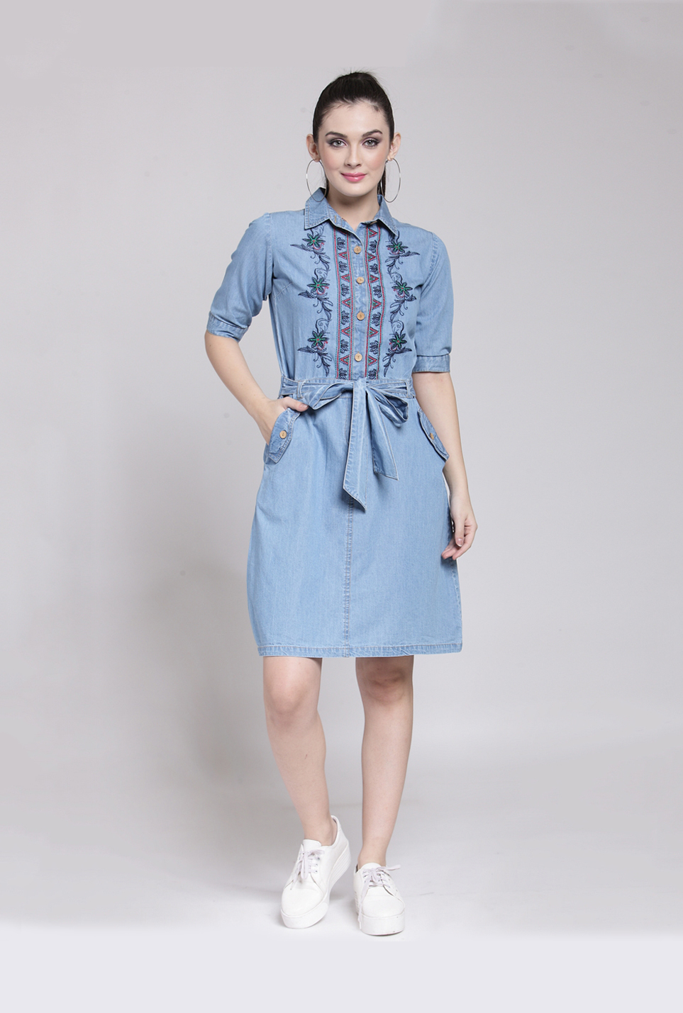 PlusS Blue Embroidered Above Knee Dress