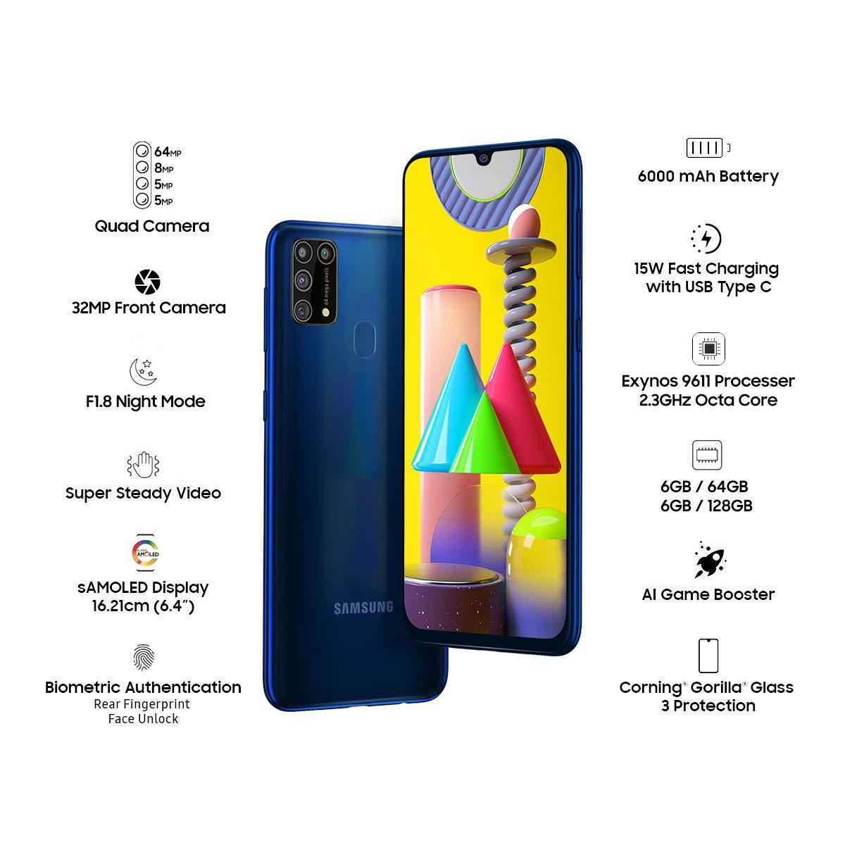 Samsung Galaxy M31 (Ocean Blue, 6GB RAM, 128GB Storage